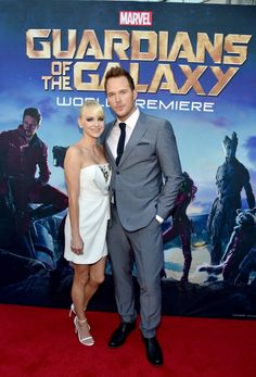 "Anna Faris and Chris Pratt attend The World Premiere of Marvel's epic space adventure ""Guardians of the Galaxy,"" directed by James Gunn and presented in Dolby 3D and Dolby Atmos at the Dolby Theatre. July 21, 2014 Hollywood, CA"