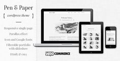 Pen and Paper - Responsive WordPress Theme by dabaman Pen & Paper is a fully responsive, scrolling single page WordPress theme, made in a stylish, black and white design. Great for per