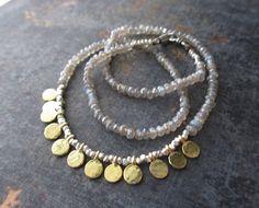 Collier de pierre gemme labradorite - gitane - fine collier quotidienne neutre or argent vermeil par slashKnots