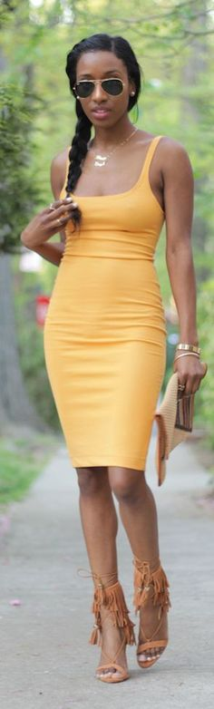 Pinterest:@duquesasheenz        The gorgeous @StyleNini Mustard Bodycon Dress Summer Style...I'm sooooo getting one of these!!
