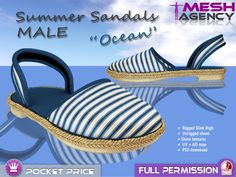 "Slink Flat MALE Sandals ""Ocean"" FULL PERM - POCKET PRICE"