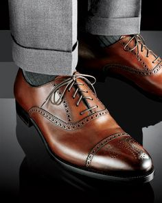 Fantastic shoes!! I personally would do without the cuff on any dress pants though.