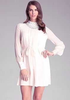 Embellished Mock Neck Dress - Gorgeous silk chiffon dress adorned with  sparkling iridescent stones and gleaming pearls. Sexy open back and chic long  sleeves ... 5bf26b1f1a
