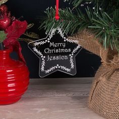 Personalised Childrens First Name Acrylic Christmas Tree Decoration Bauble Gift Personalised Christmas Tree Decorations, Star Decorations, Festival Decorations, Holiday Decor, Christmas Tree Baubles, Christmas Star, Vinil Cricut, Paper Doilies, Babies First Christmas