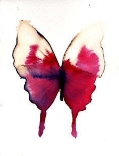 Original hand painted butterfly in ink, watercolour and bleach