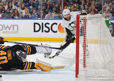 February 21, 2016 at Buffalo: Phil Kessel waits out a flailing Robin Lehner just before burying his 19th goal of the season. Final score, 4-3 Penguins.