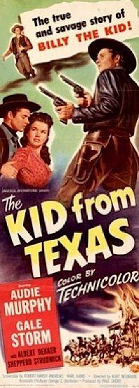 THE KID FROM TEXAS (1950) - Audie Murphy - Gale Storm - Albert Dekker - Shepperd Strudwick - Directed by Kurt Neumann - Universal-International - Insert Movie Poster.