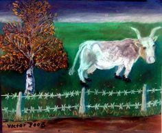 "Kon ""Vitgås"", pastell. The cow ""Vitgås"", pastel."