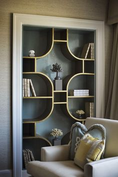 """This curved bookshelf has a """"Tilt"""" vibe- such a great idea!!"""