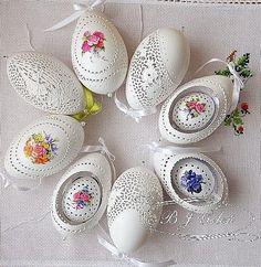 ażurowe pisanki gęsie i kurze wydmuszki skorupki goose egg shells made by Bogusława Justyna Goleń Ażurowe Pisanki