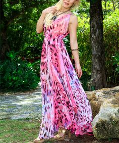 Look at this Pink Animal Tie-Waist Maxi Dress by La Moda Clothing Scarf Dress, Tie Dress, Tie Dye Skirt, Pretty Outfits, Cute Outfits, Pretty Clothes, Pink Animals, Style Me, Casual