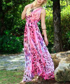 Look what I found on #zulily! Pink Animal Tie-Waist Maxi Dress #zulilyfinds