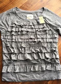 Kaufe meinen Artikel bei #Kleiderkreisel http://www.kleiderkreisel.de/damenmode/t-shirts/144987497-graues-shirt-kurzarm-mit-ruschen-grosse-m-von-hollister