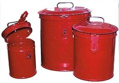 Vintage or Retro Canister Set ~ Kitchen Storage Canisters ~ Decorative Containers E5~ French Country Red Enamel