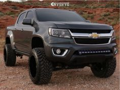 This 2016 Chevrolet Colorado is running Anthem Equalizer wheels Toyo Open Country Mt tires with BDS Suspension Suspension Lift suspension. Chevrolet Colorado, Chevy Colorado Lifted, Lifted Chevy Trucks, New Trucks, Pickup Trucks, Custom Trucks, Chevrolet Trailblazer, Chevrolet Silverado, Chevy 4x4