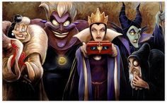 Disney ''Sinister Villains'' Giclée by Darren Wilson Female Villains, Disney Villains, Disney Girls, Disney Pixar, Ursula Disney, Ariel, All Disney Movies, Disney Challenge, Pinturas Disney