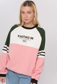 """Pink, white and green """"California"""" Sweatshirt Kids Outfits, Cool Outfits, Casual Outfits, Fashion Outfits, Tumblr Outfits, Character Outfits, Bollywood Fashion, Bikini, Sportswear"""