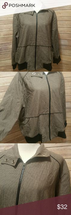 Black bomber jacket Size 22/24. Long sleeves. Black cuffs. Zip up front. Pockets. Snaps at collar. Black herringbone print Cato Jackets & Coats