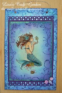 And another stunning card with the Mermaid stamp - this one found on Lisa's Craft Garden -- again, another inspiration for Stamp Oasis mermaid Atc Cards, Cricut Cards, Nautical Cards, Beach Cards, Fantasy Mermaids, Lavinia Stamps, Cool Cards, Homemade Cards, Making Ideas