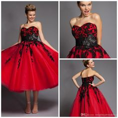 Red Prom Dresses 2015 A-Line Sweetheart Ankle Length Lace-up Tulle Applique Handmade Flowers Beaded Party Celebrity Dresses Ruffle Prom Gown, $129.84DHgate.com ADD SLEEVES