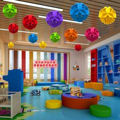 Like the colors and open space Classroom Ceiling Decorations, Classroom Wall Decor, Preschool Classroom Decor, Preschool Rooms, Daycare Rooms, Classroom Walls, Classroom Setting, School Decorations, Classroom Themes
