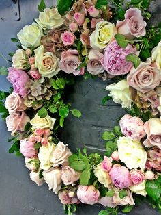 Wreath made with hydrangeas, roses and peonies. www.convallaria.com