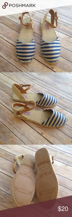 Spotted while shopping on Poshmark: Navy Striped Espadrilles Size 10! #poshmark #fashion #shopping #style #Mojo Moxy #Shoes