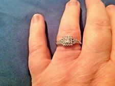 SALE Engagement/anniversary ring size 8 14k white gold .84 carat diamond
