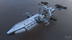 The USS George W. Bush from the film Iron Sky.  I did extensive remodeling and reunwrapping on the ship as well as creating the shaders and the lighting setup.  A huge thank you goes to the whole team behind the VFX of the film.  www.tuomaskankola.com www.trollvfx.com