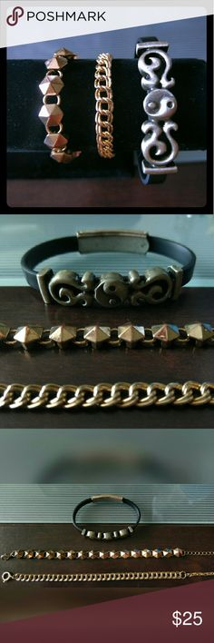 Bundle of 3 Boho Bracelets Two gold toned metal bracelets with interesting chain designs. Not real gold, but both in great condition. One black rubber band bracelet with darkened heavy silver metal yin yang embellishment, also in good condition. All three adjustable and a bit distressed looking on some of the edges. Jewelry Bracelets