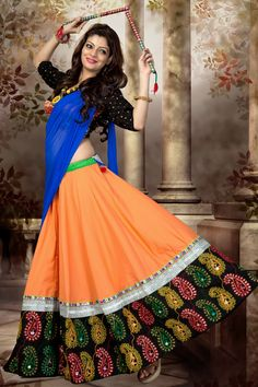 Buy Orange Color Indian Garba Chaniya Choli online in India at best price.Simple designs and great color combination impress you to grab this orange color Indian garba outfits Garba Chaniya Choli, Garba Dress, Navratri Garba, Navratri Dress, Garba Dance, Navratri Festival, Indian Dresses, Indian Outfits, Dandiya Dress