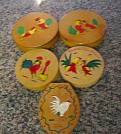 Five vintage hamberger presses with rooster motif for sale at More Than McCoy at http://www.morethanmccoy.com