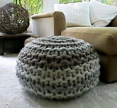 "This pattern is a fast and fun project. I love this type of yarn, I call it ""dreadlocks."" The Llama rug yarn is so soft and I love the unusual texture and color variation. Knit bottom up in one piece in the round. Crochet a few stitches at the top to finish. Begin this project this afternoon and have a beautiful Pouffe to enjoy in your home tonight."