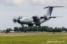 A400M Atlas landing at RIAT 2014.  See the rest of my aviation images in full size by clicking on the thumbnail.  They are also available to buy in a variety for formats or as a digital download without the watermark. #atlas #a400m #riat