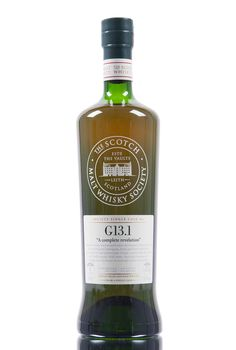 A Japanese single grain whisky from Chita distillery, distilled in 2009 and aged for 4 years in a virgin oak puncheon. Society Single Cask No. G13.1 'A complete revelation', bottled at cask strength, 58.3% vol for The Scotch Malt Whisky Society