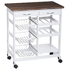 Merax 26″ Portable Storage Island Kitchen Trolley Cart with 2 Drawers (White)