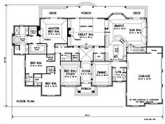 First Floor Plan of The Bellaire - House Plan Number 809