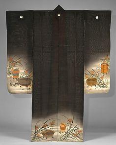 Elegent Antique Furisode with Mon Japanese Design, Japanese Art, Japanese Things, Japanese Style, Japanese Textiles, Japanese Fabric, Japanese Costume, Traditional Japanese Kimono, Kimono Design