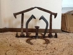 Railroad spike nativity made by Connor