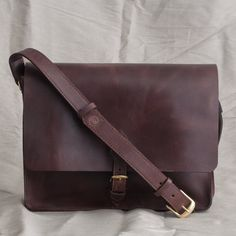 Hand Stitched Leather Laptop Bag by LewesianLeathers on Etsy