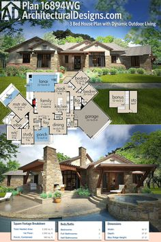 Architectural Designs House Plan 16894WG has over 500 square feet of outdoor entertaining space and over 2,300 square feet of heated living space inside with 3 beds and 2.5 baths PLUS a bonus room over the garage. Ready when you are. Where do YOU want to build?Plans: https://www.architecturaldesigns.com/16894wg