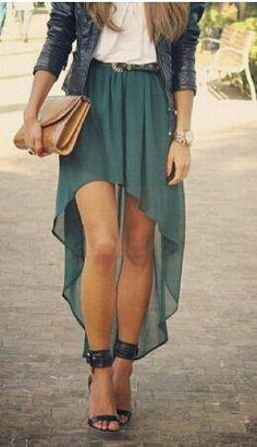 High-low skirt outfit for fall! Especially love these ankle strap heels! My checkbook, debit card, and cash in hand goes far outfits like this and short skirts.