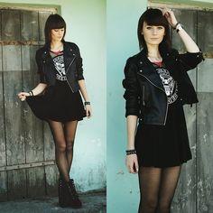 Black Dress, Rivet Wedges, Jacket, Necklace