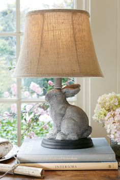 Lapin Lapereau Lamp - Limestone Lamp, Patina Lamp | Soft Surroundings