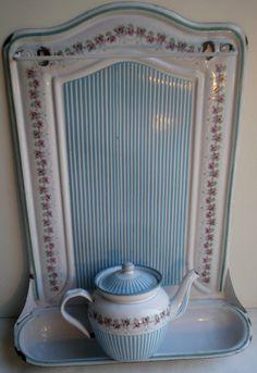 French Antique Strainer Enamelled Sheet Roses Garlands Blue Stripes BB | eBay