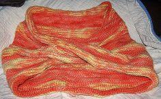 Mobius cowl design in two stitches: Tarim/Coptic stitch (yellow/orange blend) and Danish stitch (plain orange) by annais60 on ravelry.com (via Flickr).