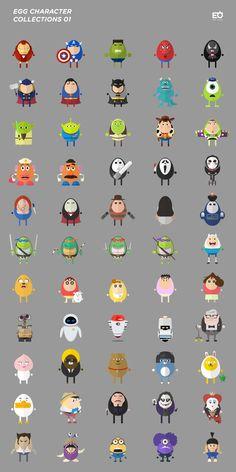 / 달걀 캐릭터 콜렉션/ Illustrator CS6/ Motif. Egg - Parody - Minimal/ Design by. Tae Hyung