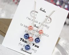 Bridesmaid Gift Navy Blue and Coral Bridesmaid Pearl Jewelry Set Bridesmaid Jewelry, Wedding Gift FREE Personalized Card!!!