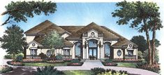 This large luxury home has unique and elegant designs and layout.  House Plan # 661017.