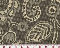 Jacobean Floral Gray Print by P Kaufmann Drapery Upholstery Fabric Rava Elephant